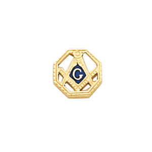 Octagonal Masonic Tie Tac - 10k Yellow Gold