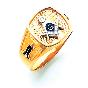10kt Yellow Gold Oblong Blue Lodge Signet Ring