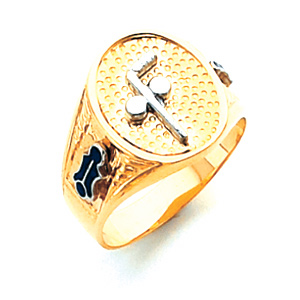 14kt Gold Oval Blue Lodge Signet Ring with Tubal Cain