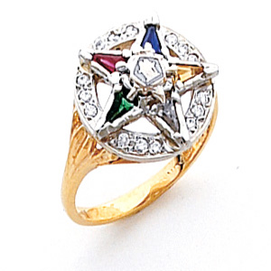 Eastern Star Ring with CZs - 14k Gold