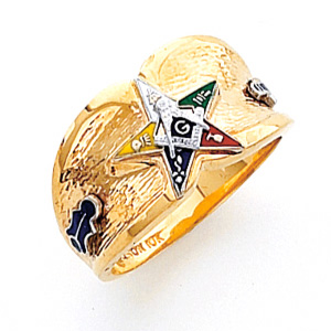 14kt Yellow Gold Wide Eastern Star Ring