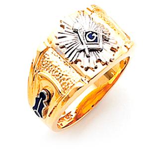 10kt Yellow Gold Large Harvey & Otis Sunburst Masonic Ring