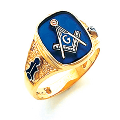 10kt Yellow Gold Harvey & Otis Masonic Ring with Pebble Grain Sides