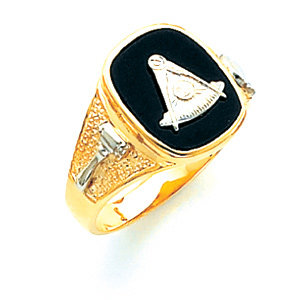 10kt Two-tone Gold Past Master Ring with Textured Shank