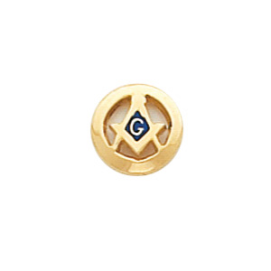 10k Yellow Gold Round Cut-out Masonic Tie Tac