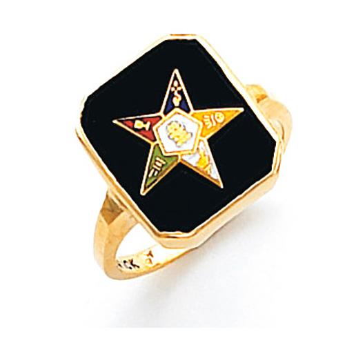 Oblong Eastern Star Ring - 14k Gold