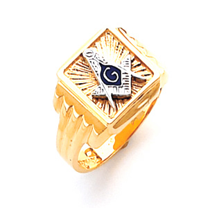 10kt Yellow Gold Square Top Masonic Ring with Ribbed Shank
