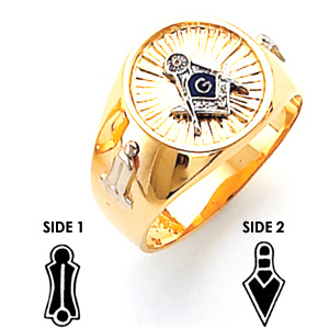 14kt Two-Tone Gold Harvey & Otis Masonic Ring with Round Suburst Top
