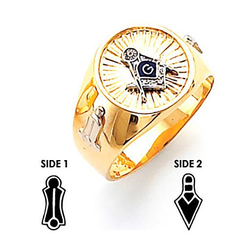 10kt Two-Tone Gold Harvey & Otis Masonic Ring with Round Suburst Top