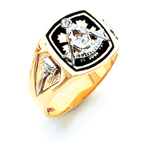 10kt Yellow Gold Harvey & Otis Past Master Ring with Black Enamel
