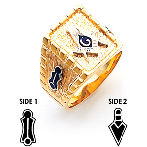 10kt Yellow Gold Masonic Ring with Square Borders