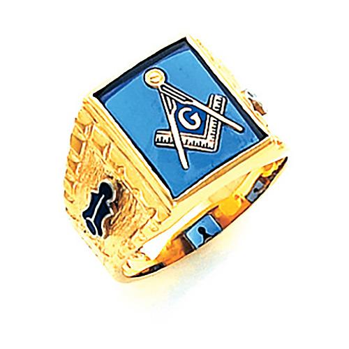 14kt Yellow Gold Designer Masonic Ring with Rectangular Stone