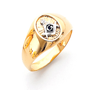 14kt Yellow Gold Small Oval Signet Masonic Ring