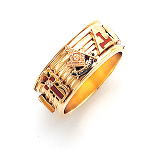 14kt Yellow Gold Custom Eight Emblem Masonic Ring