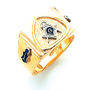10k Gold Masonic Ring with Pebble Grain Triangle Top
