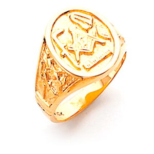 10kt Yellow Gold Oval Masonic Ring with Working Tools