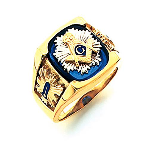 14kt Yellow Gold Harvey & Otis Masonic Ring with Starburst