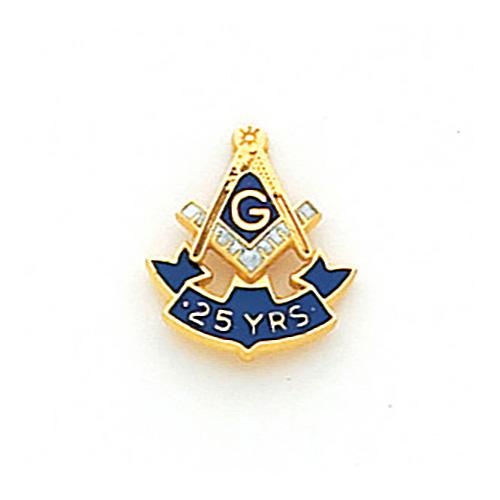10k Yellow Gold Masonic 25 Year Ribbon Tie Tac