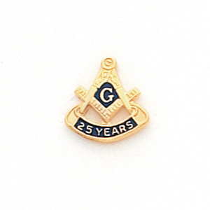 Masonic 25 Year Tie Tac - 10k Yellow Gold