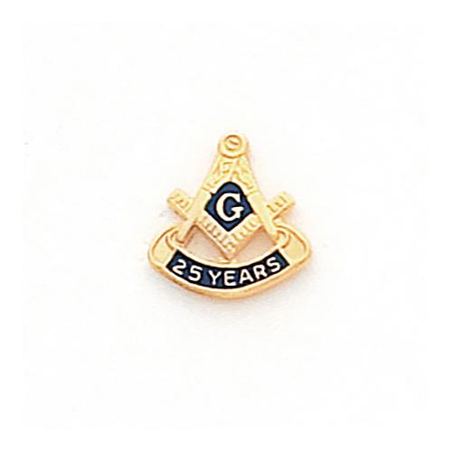 10k Yellow Gold Masonic 25 Year Tie Tac