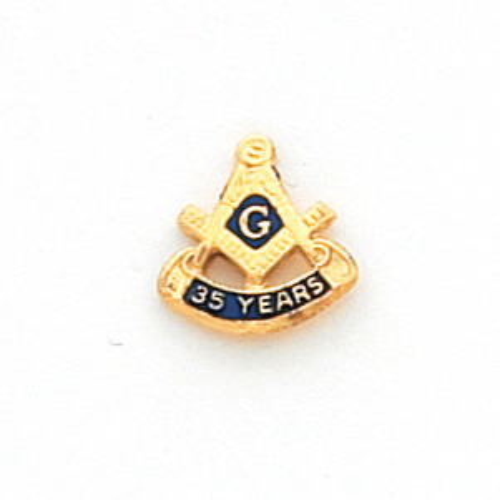 Masonic 35 Years Tie Tac - 10k Yellow Gold