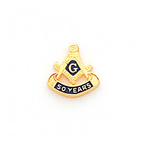 Masonic 50 Years Tie Tac - 10k Yellow Gold