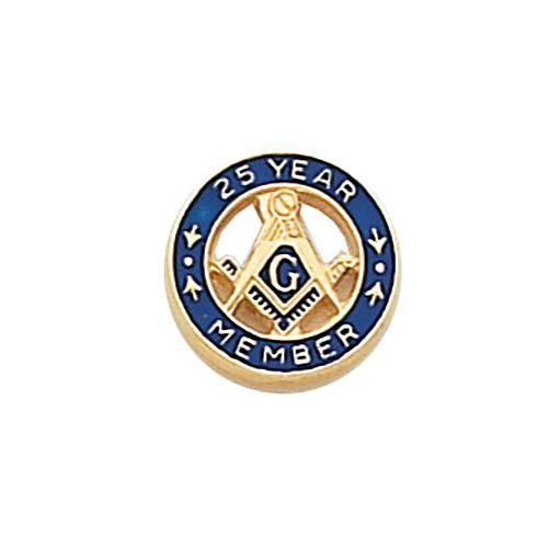 10k Yellow Gold Round Masonic 25 Year Tie Tac