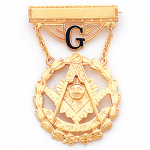 10kt Yellow Gold 1 7/8in Past Master Masonic Jewel