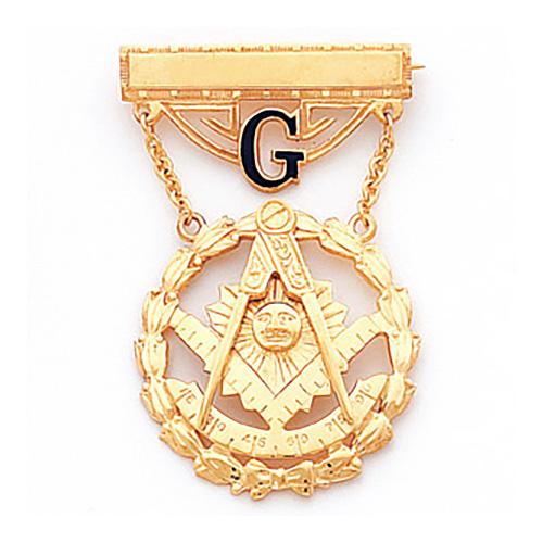 10kt Yellow Gold 1 7/8in Past Master Masonic Jewel