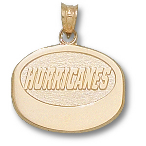 10kt Yellow Gold 5/8in Carolina Hurricanes Puck Pendant