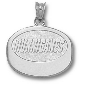 Sterling Silver 5/8in Carolina Hurricanes Puck Pendant