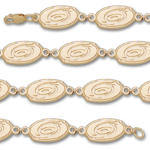 10kt Yellow Gold Carolina Hurricanes Logo Bracelet 7in