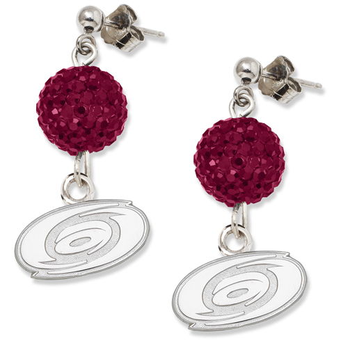 Sterling Silver Carolina Hurricanes Crystal Ovation Earrings