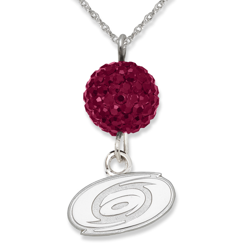 Sterling Silver Carolina Hurricanes Crystal Ovation Necklace