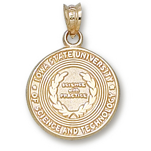 10kt Yellow Gold 5/8in Iowa State University Seal Charm