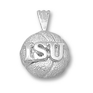 Sterling Silver 1/2in Iowa State ISU Basketball Pendant