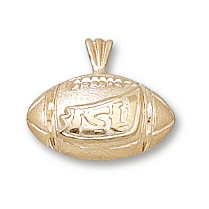 14kt Yellow Gold 1/2in Iowa State Football Pendant