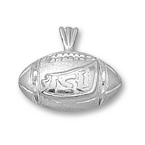 Sterling Silver 1/2in Iowa State Football Pendant