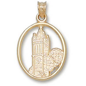 10kt Yellow Gold 3/4in Iowa State University Campanile Pendant