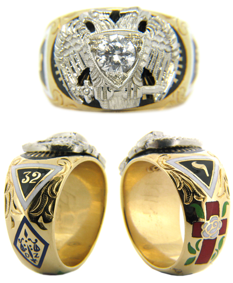 Scottish Rite Ring with Cubic Zirconia - 14k Gold