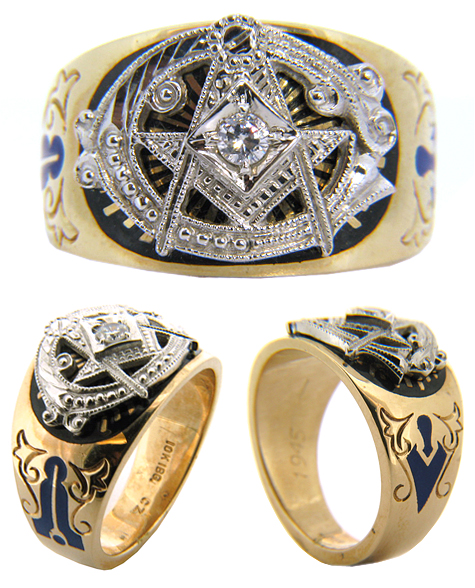 10kt Yellow Gold Masonic Blue Lodge Diamond Ring