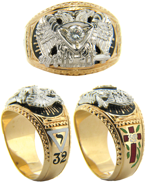 Masonic 32nd Degree Ring with Cubic Zirconia - 14k Gold
