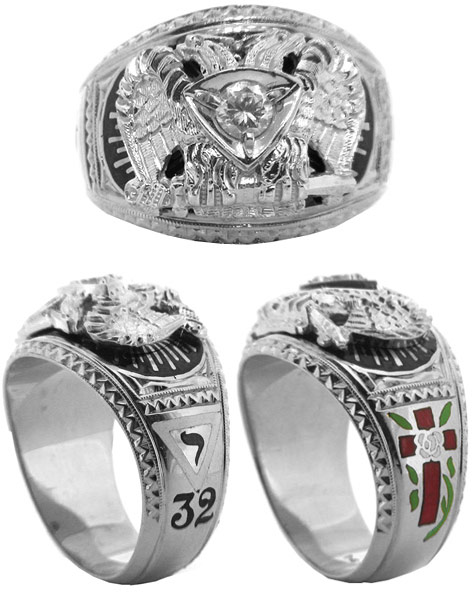 Masonic 32nd Degree Ring with Cubic Zirconia 14k White Gold