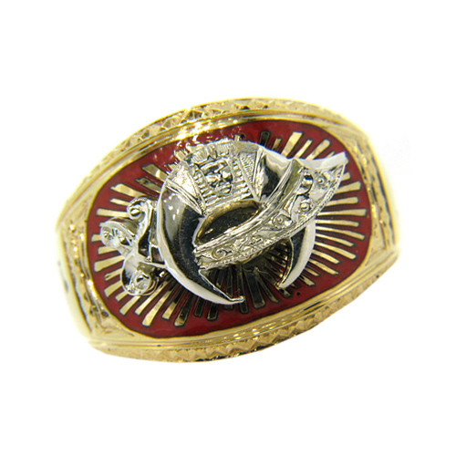 Shriner Ring with Fez and Camel 10k Yellow Gold