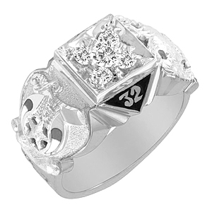 1/2 ct Diamond Cluster Scottish Rite Ring Sterling Silver
