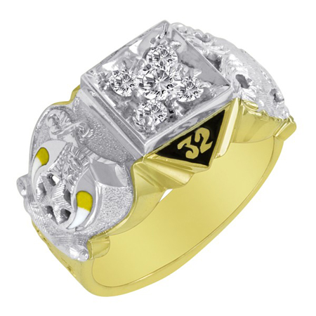 1/2 CT Diamond Scottish Rite Ring - 14k Gold