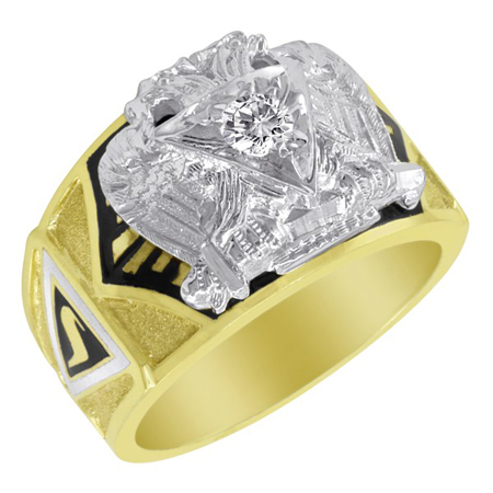 1/4 CT Diamond Scottish Rite Ring - 14k Gold