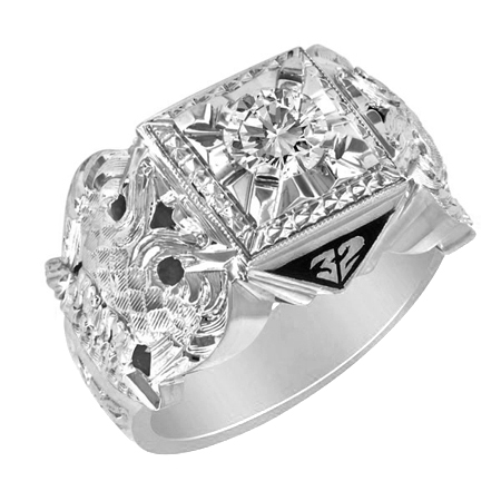 3/8 CT Diamond Jumbo Scottish Rite Ring - Sterling Silver