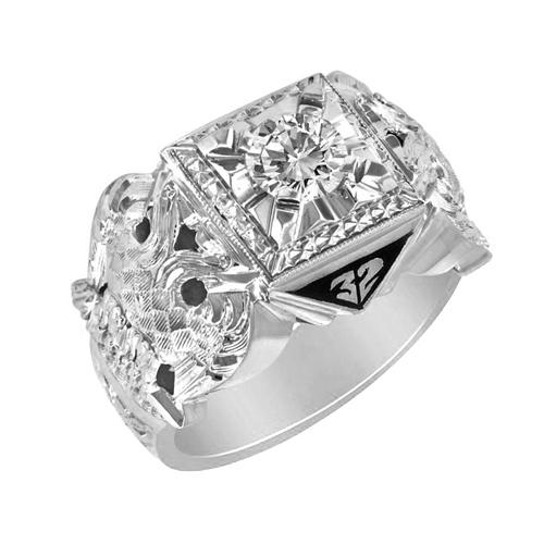 3/8 CT Diamond Jumbo Scottish Rite Ring - Sterling Silver