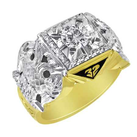10kt Gold 3/8 CT Jumbo Scottish Rite Ring with Cubic Zirconia
